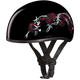 Black Barbed Rose Skull Cap Half Helmet
