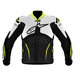 White/Black/Fluorescent Yellow Atem Leather Jacket