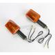 Long Stem Universal Mini-Stalk Turn Signals - Black w/Amber Lens - 25-8128