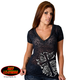 Womens Cross & Roses Burnout T-Shirt