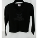 Womens Black Long Sleeve Scroll Lace T-Shirt