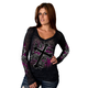 Womens Black Cross and Roses V-Neck Long Sleeve Shirt