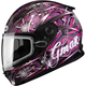 Youth Black/Pink/Purple GM49Y Flurry Snowmobile Helmet with Dual Lens Shield