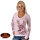 Womens Banner Heart Burnout Long Sleeve T-Shirt