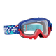 Blue/Red Party Sharks Targa Mini MX Goggles w/Clear Lens - 320390036097