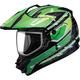 Black/Green/White GM11S Nova Snow Sport Snowmobile Helmet with Dual Lens Shield
