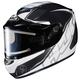 Black/White/Silver CS-R2SN MC-5 Injector Helmet with Framed Electric Shield