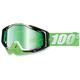 Green/White Racecraft Organic Goggle w/Mirror Green Lens - 50110-116-02