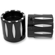 Black Rival Front Axle Nut Covers - AXL-RIV-ANO
