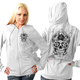 Womens White Sugar Skull Zip Hoody