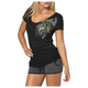 Royal Flush Womens Black T-Shirt
