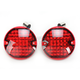 Chrome Flat Style Panacea Rear Turn Signal Inserts with Red Lens - 5428