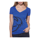 Womens Royal Blue Split V-Neck T-Shirt