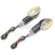 Ultra Small Universal Mini-Stalk Turn Signals - Carbon w/Rainbow Lens - 25-8362