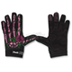 Womens Black/Pink Rose Bone Gloves