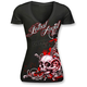 Womens Black Floral Rose Skull T-Shirt