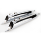 Chrome 4 in. Scallop Slant-Cut Down Slip-On Mufflers w/2-1/2 in. Performance Baffles - FLH-529SL
