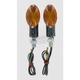 Ultra Small Universal Mini-Stalk Turn Signals - Carbon w/Amber Lens - 25-8360