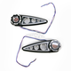 Black Rear Brake Lights/Turn Signals with Red LED and Clear Lens - 04-309