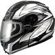 Matte Black/White/Silver GM64S Carbide Modular Snowmobile Helmet with Dual Lens Shield