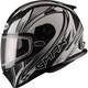 Flat Black/White FF49 Sektor Snowmobile Helmet