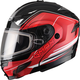 Black/Red GM54S Terrain Modular Snowmobile Helmet