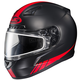 Matte Black/Red CL-17SN Streamline MC-1F Snowmobile Helmet w/Dual Lens Shield