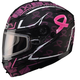 Limited Edition Matte Black GM54S Pink Ribbon Modular Snowmobile Helmet