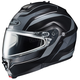 Black/Matte Silver IS-Max 2 Style Snowmobile Helmet w/Dual Lens Shield