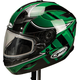 Green/Silver/White GM78S Blizzard Snowmobile Helmet with Dual Lens Shield