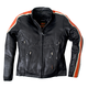 Womens Black/Orange/Cream Scooter Leather Jacket