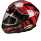 Red/Silver/White GM78S Blizzard Snowmobile Helmet with Dual Lens Shield