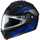 Black/Blue/Silver IS-MAX 2 MC-2 Elemental Snowmobile Helmet w/ Dual Lens Shield