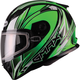 Green/White/Black FF49 Sektor Snowmobile Helmet