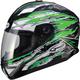 Green/White/Black GM78S Firestarter Full Face Helmet