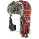 Buffalo Plaid Trooper Hat w/Grey Fur - WTH068