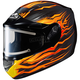 Black/Orange/Yellow CS-R2 MC-7 Flame Block Helmet w/Electric Shield