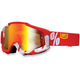 Fire Red/White Accuri Motocross Goggles w/Mirror Lens - 50210-003-02