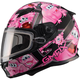Youth Black/Pink GM49Y Attack Snowmobile Helmet