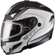 Flat Black/White GM54S Terrain Modular Snowmobile Helmet