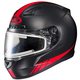 Matte Black/Red CL-17SN Streamline MC-1F Snowmobile Helmet w/Electric Shield