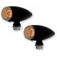 Smooth Flat Black Powder Coat Bullet Marker Lights - AC1031B