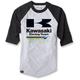 Gray/Black Kawasaki Racing Baseball T-Shirt