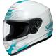 White/Teal Qwest Serenity TC-10 Helmet