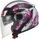 Womens Pink/White/Black Floral OF569 Track Helmet with Sunshield