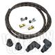 Black/Orange Cloth 8mm Suppression Core Spark Plug Wire Set - 003678