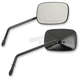Black Long Stem OEM-Style Rectangular Mirrors - 0640-0983