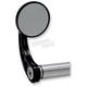 Black Round Bar End Mirror w/Curved Stem - 09-312-CB