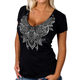 Women's Black Lace Semi-Sheer V-Neck T-Shirt