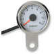 Polished Stainless Steel 1 7/8 Inch Electronic Tacometer w/ White Face - 2211-0122